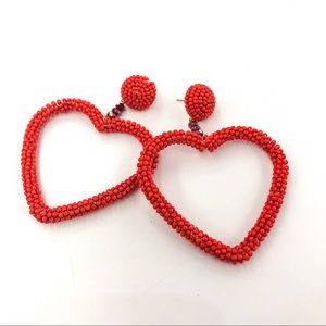 RED SEED BEADED HEART HOOP EARRINGS